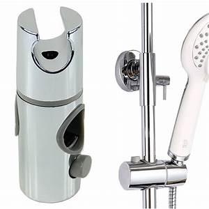 New, Chrome, Plated, Head, Hand, Held, Shower, Bracket, Holder, For, Bathroom, Slide, Bar, G08, Great, Value