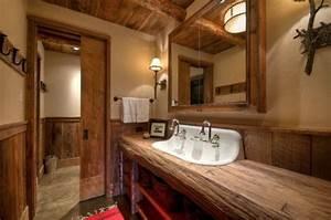 meubles salle de bain et decoration dans le style rustique With meuble salle de bain bois brut