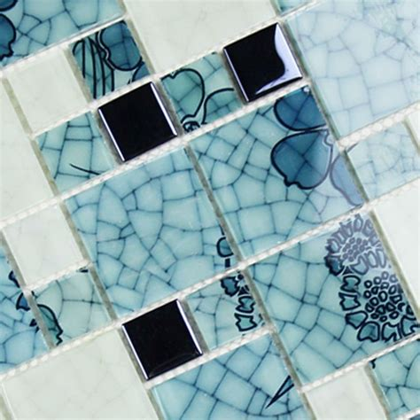 glass tile blue and white wallpaper mosaic electroplated