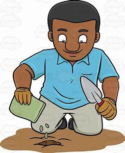 A Black Man Planting Seeds Cartoon Clipart - Vector Toons