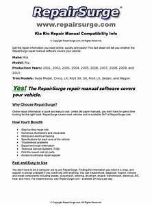 Kia Rio Online Repair Manual For 2001  2002  2003  2004