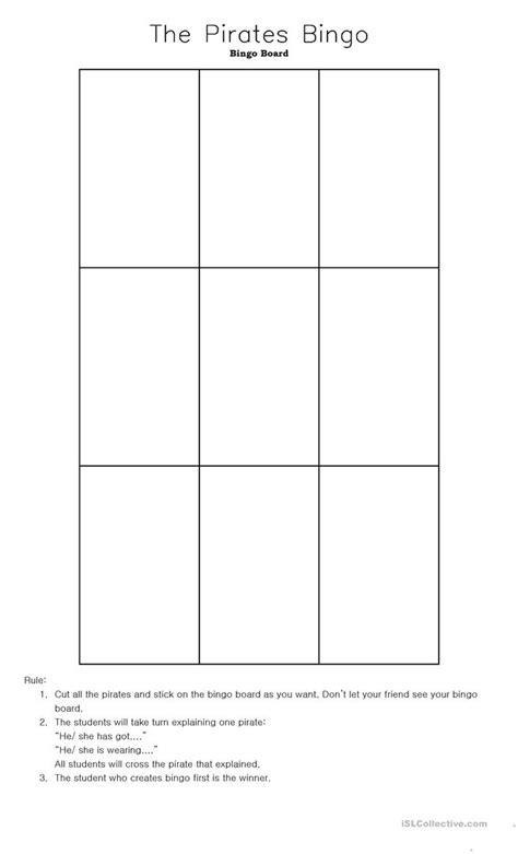 lets play pirates bingo worksheet  esl printable