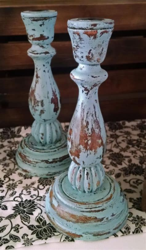 shabby chic candles shabby chic aqua blue candle holders aftcra