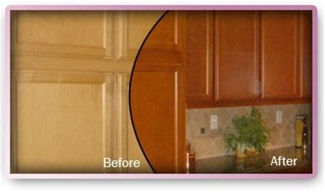 how to refinish maple cabinets before and after restaining in cherry color maple