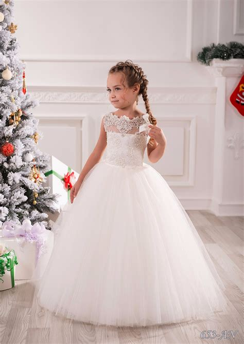 new lace flower girls dresses wedding party dress ball