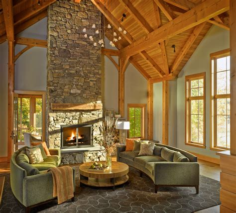 rustic timber frame home rustic living room
