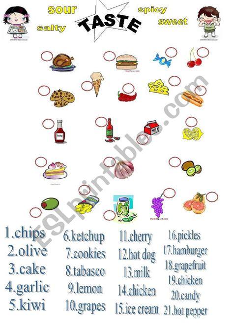 taste  food esl worksheet  adva