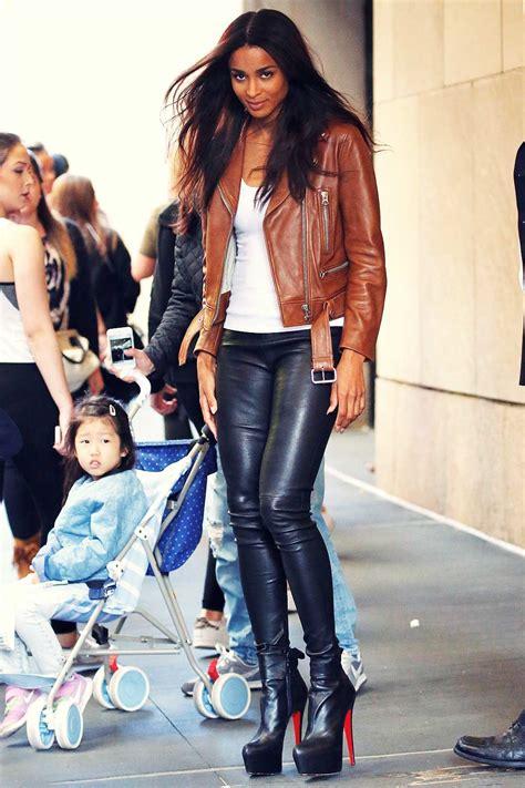 ciara leaving mtv studios leather celebrities