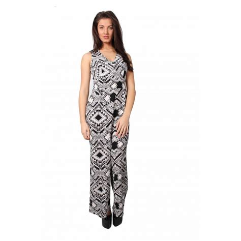 white and black jumpsuit adrinna black and white geometric print jumpsuit from