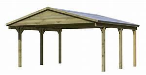 Carport 2 Voitures Bois : carport en bois adosse toit en pente ~ Dailycaller-alerts.com Idées de Décoration