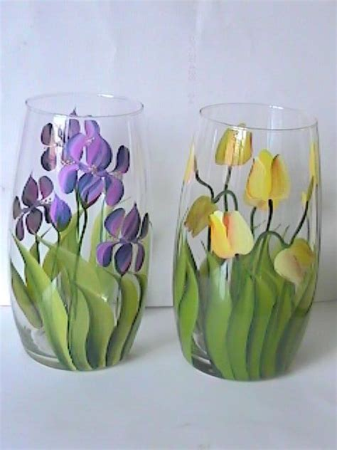 glass painting flower vase 25 best ideas about painted glass vases on