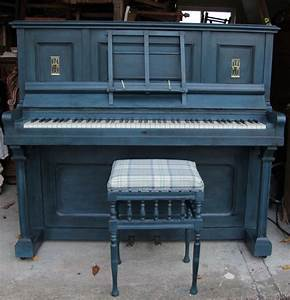 Antique A & FE Hanson upright piano and stool painted blue ...