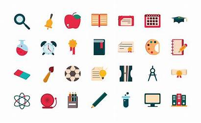 Stationery Flat Vecteezy Supplies Icons