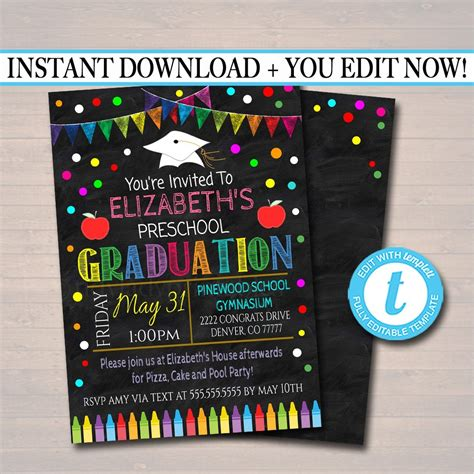editable graduation invitation chalkboard printable