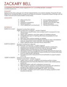 resume exles for labourer construction labourer cv exle for construction livecareer