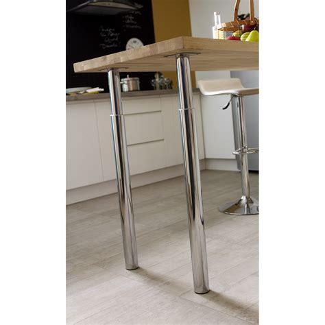 pied de plan de travail cuisine pied de plan de travail cylindrique réglable métal chromé