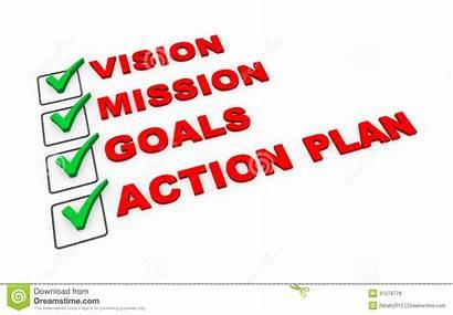 Action Plan Mission Vision 3d Goals Illustration