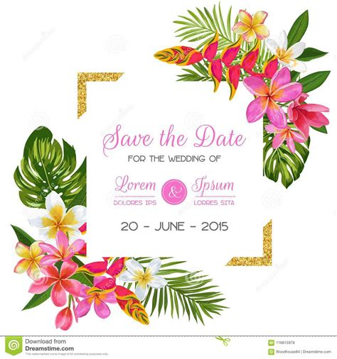 Wedding Invitation Template With Flowers Tropical Floral