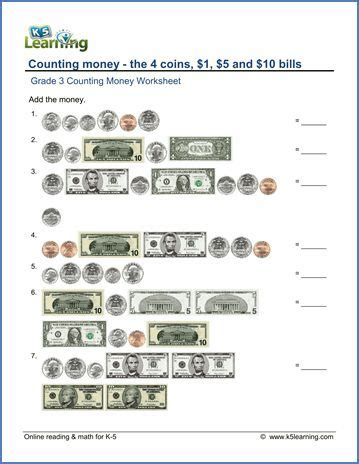 grade  counting money worksheet money worksheets