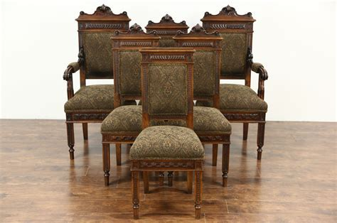 SOLD   Set of 6 Italian Carved Walnut Antique Dining