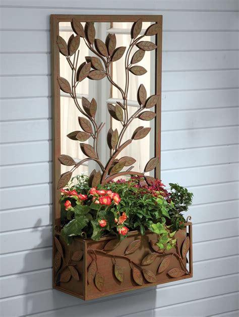 Outdoor Wall Planters Wrought Iron by Calais Garden Mirrored Planter Acacia For Home