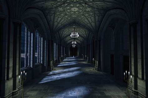 dark palace hallway  lit candles  moonlight shining