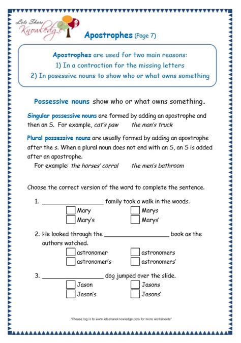 grade 3 grammar topic 31 apostrophe worksheets lets