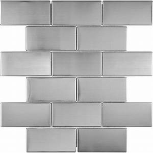 Shop stainless steel subway mosaic metal wall tile common for Metal backsplash tiles lowes