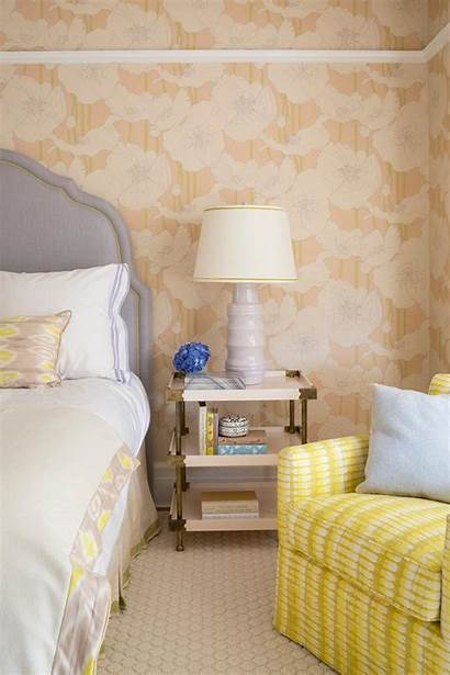 Yellow Gray Headboard Bedroom Neutral Floral Bright