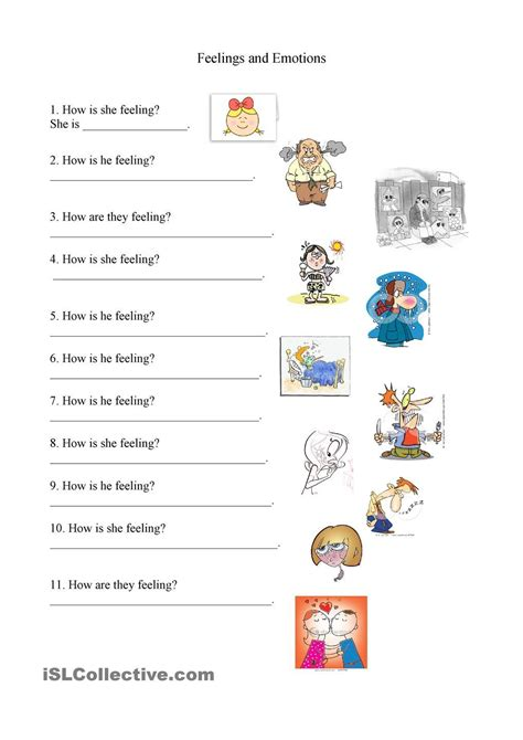 feelings  emotions worksheet sentimientos  emociones