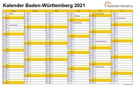Die amtierenden ministerpräsidenten haben ihre wiederwahl gesetzliche feiertage im kalender 2021. Feiertage 2021 Baden-Württemberg + Kalender