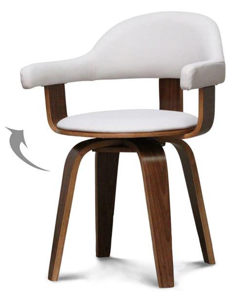 chaise suedoise chaise pivotante simili blanc et bois noyer woff