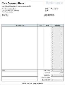 Free Contractor Estimate Forms Templates