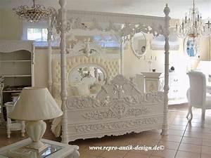 Barock Bett Engelhimmelbett Rose Betten Shop Repro Antik Design
