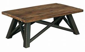 Crossfit Rectangular Coffee Table with Solid Acacia Top ...
