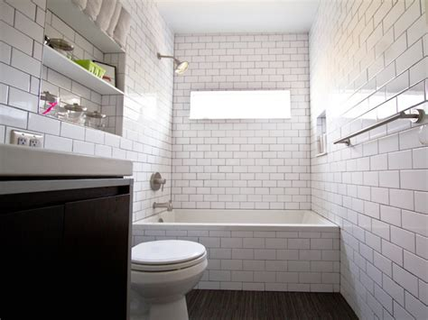 subway tile bathrooms wood floor with white subway tile