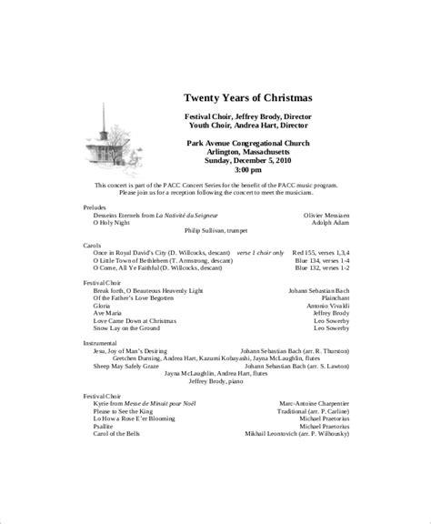 christmas program template 9 sle concert programs pdf psd word illustrator