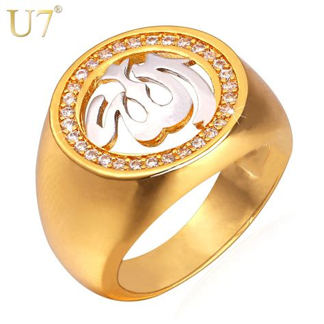 u7 allah rings for jewelry with luxury cubic zirconia gold color muslim islamic jewellry