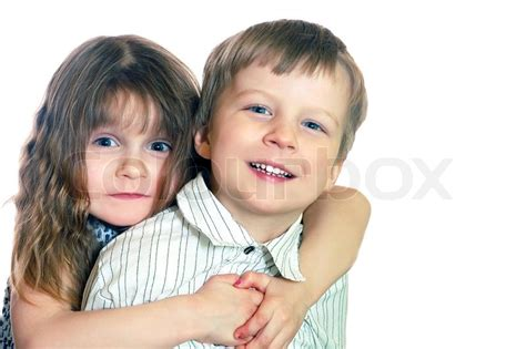 Two Kids Hugging  Stock Photo Colourbox