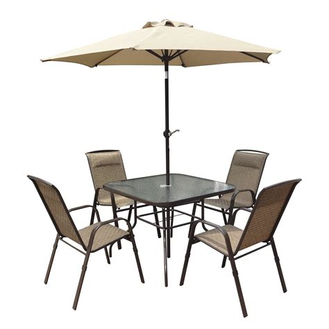 Kmart Patio Table Umbrellas by Corliving 5 Patio Dining Set With Tilting Umbrella