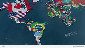 3D World Map To South America With Clouds Stock Animation ...