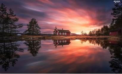 Sunsets Reflection Viewes Boat Lake Norway Ringerike