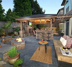 Nice, Patio, Backyard, Landscaping, Ideas, With, Fire, Pit, Outdoor, Home, Simple, Back, Yard, Low