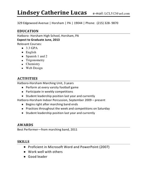 Building A Resume For High School Students by Sle Resume For Teenagers Jennywashere
