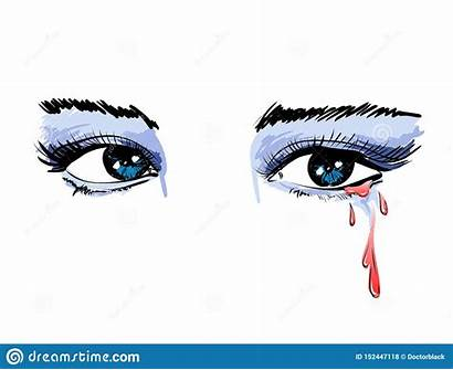 Eyes Crying Mascara Watery Drawing Flowing Isolated