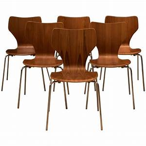Danish teak stacking dining chairs at 1stdibs for Stacking dining room chairs