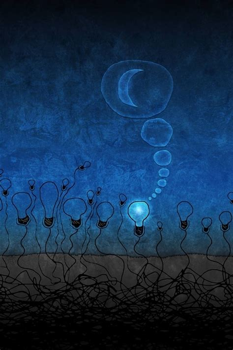 Creative Bulb And Moon Iphone 4 Wallpapers Free 640x960 Hd