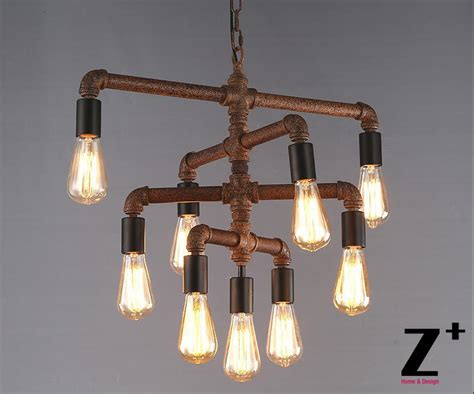 Diy Edison Chandelier by Industrial Lights Diy Made Rustic Iron Pipe Vintage 9