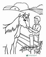 Coloring Farm Pages Horse Farmer Colouring Printable Sheets Horses Animals Animal Drawing Raisingourkids Petting Drawings Fun Jobs Feeding Help Kid sketch template