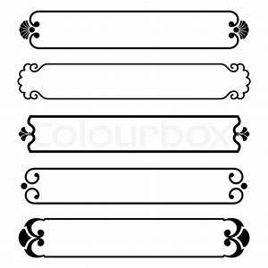 Set of simple black banners border frame Stock Vector